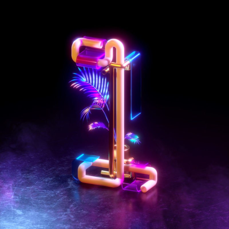 36 days of type by Machineast design studio Singapore. The number one. A 3D digital art piece by Fizah and Ando.
