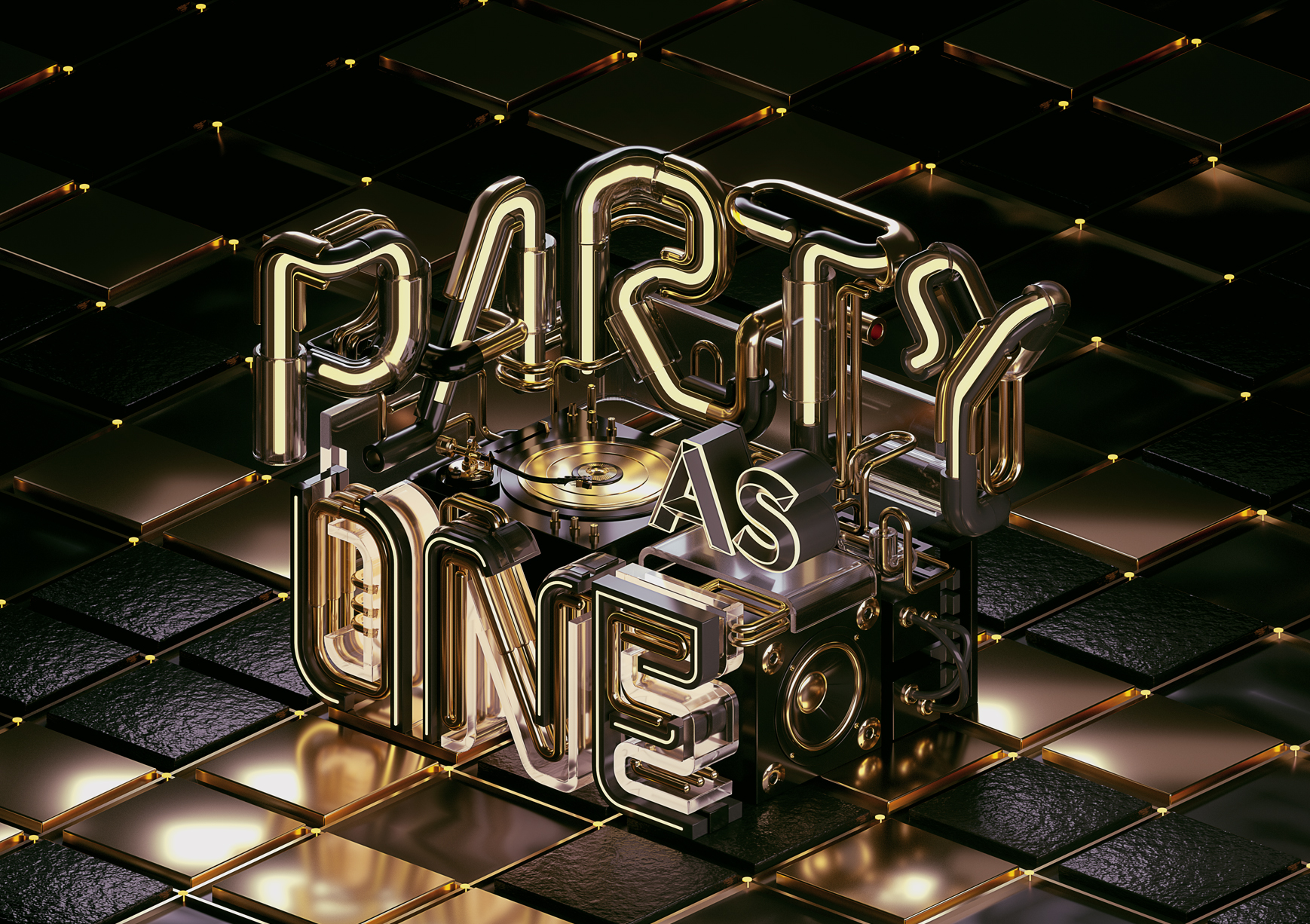 Party As One in Black - A commercial typography key visual and motion graphics by Machineast graphic design studio Singapore