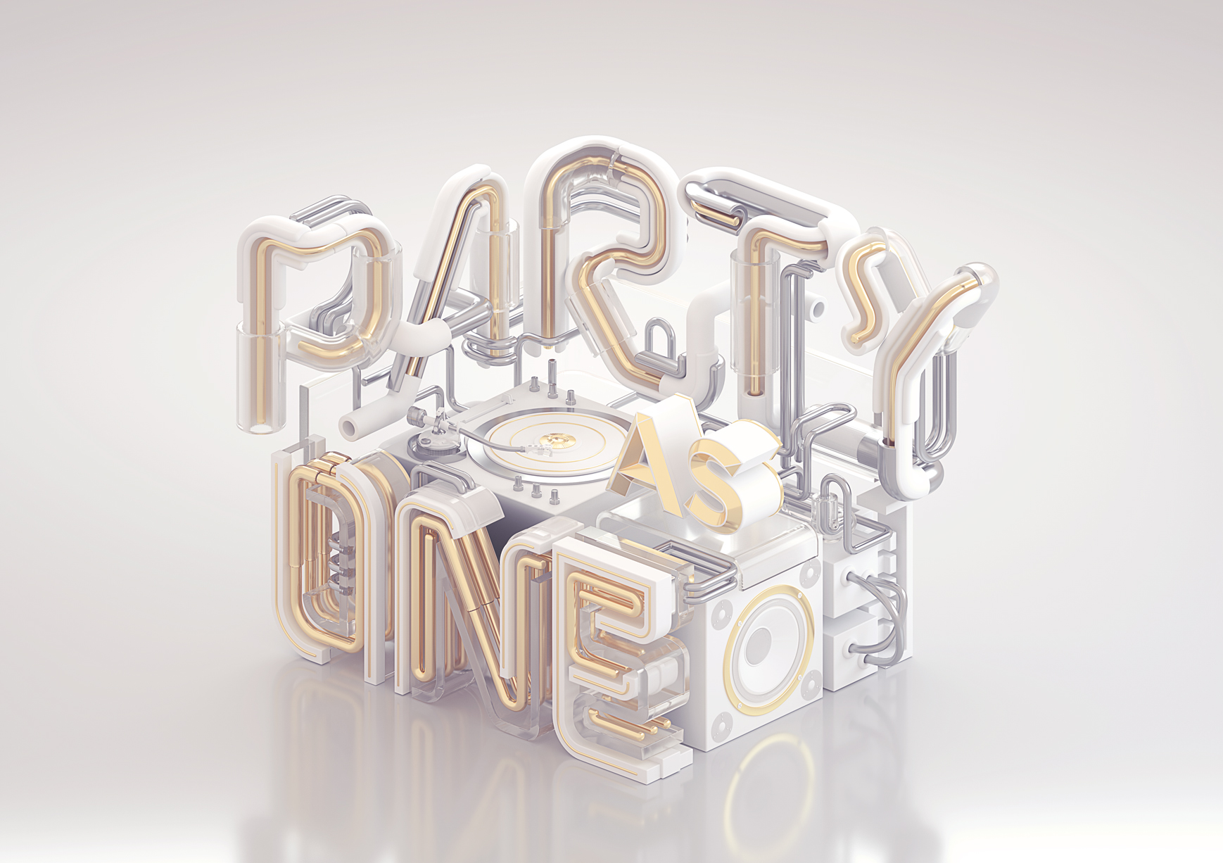 Party As One in White - A commercial typography key visual and motion graphics by Machineast graphic design studio Singapore