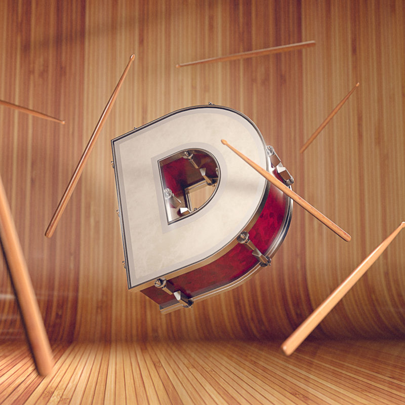 36 days of type by Machineast design studio Singapore. The letter D for what else, drums!