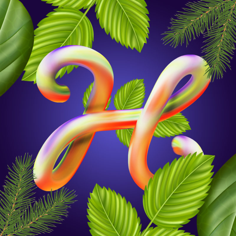 36 days of type by Machineast design studio Singapore. The letter H for Holiday!