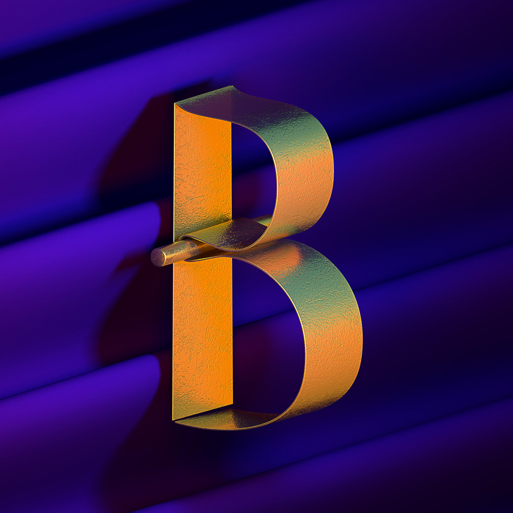 36 days of type by Machineast design studio Singapore. The letter B. A 3D digital art piece by Fizah and Ando.