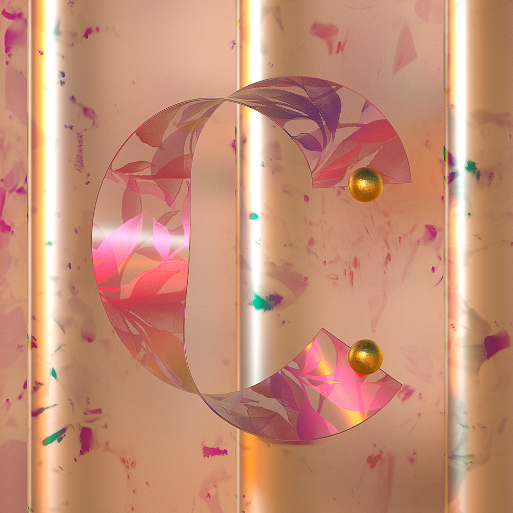 36 days of type by Machineast design studio Singapore. The letter C. A 3D digital art piece by Fizah and Ando.