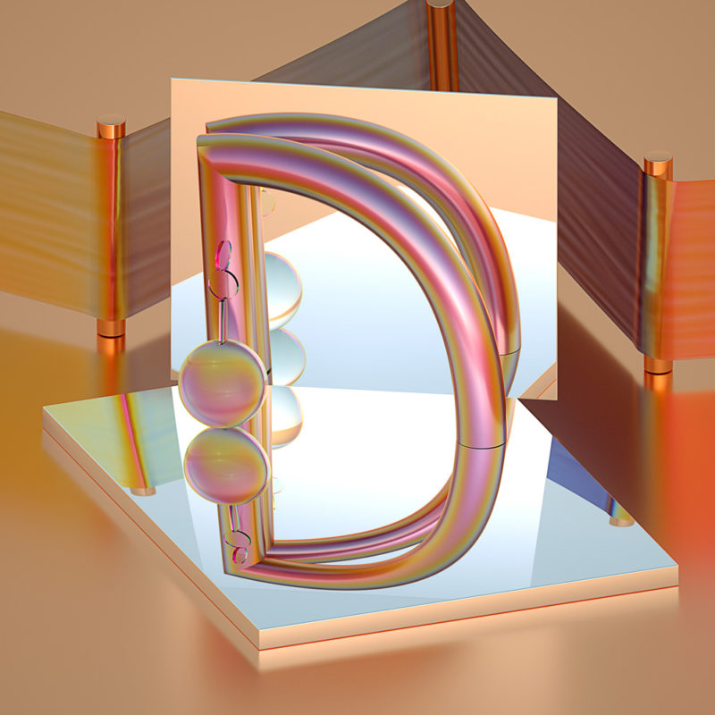 36 days of type by Machineast design studio Singapore. The letter D. A 3D digital art piece by Fizah and Ando.
