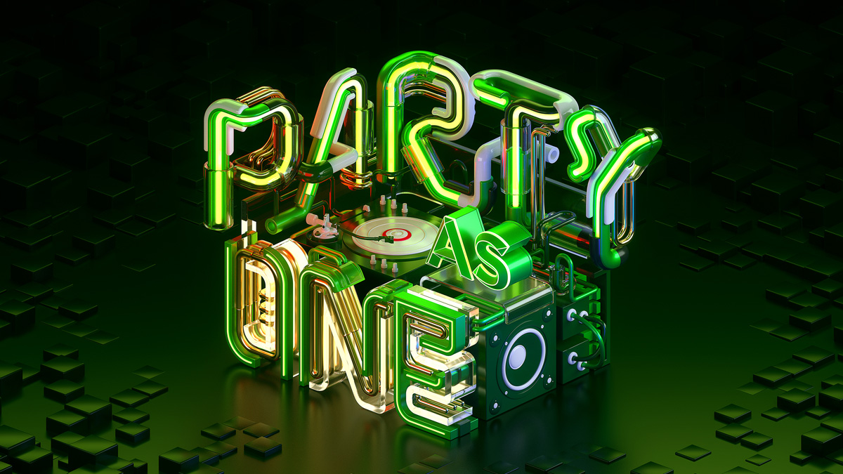 Party As One in - A commercial typography key visual and motion graphics by Machineast graphic design studio Singapore
