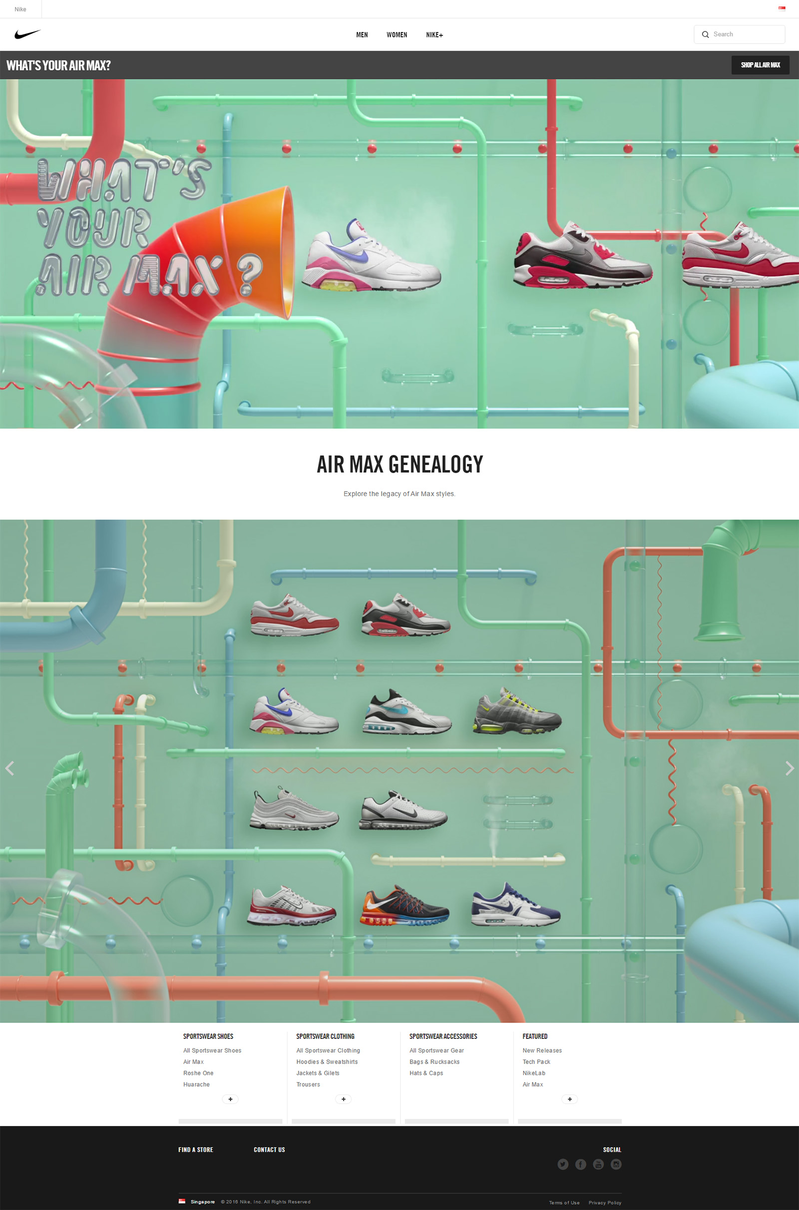 NIKE Air Max Day website design assets by Machineast design studio in Singapore. Street culture and sneakers.
